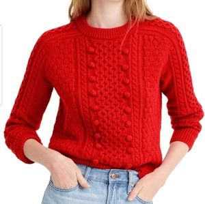 J Crew Lambswool Red Popcorn Cable Sweater Small